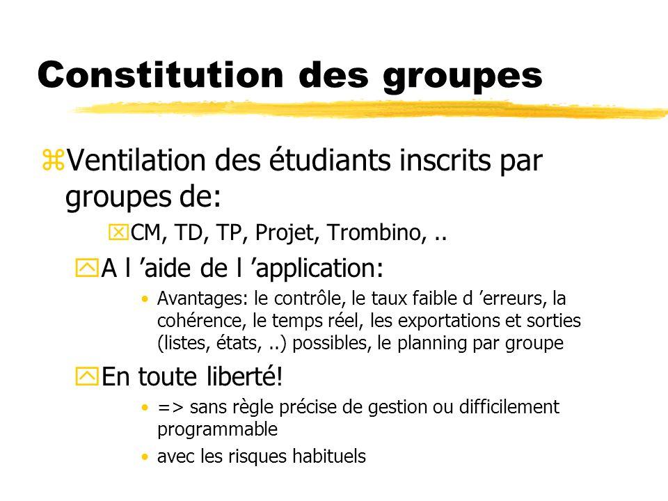Constitution des groupes zVentilation des étudiants inscrits par groupes de: xCM, TD, TP, Projet, Trombino,.. yA l aide de l application: Avantages: l