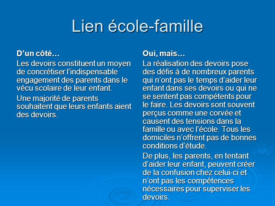 Lien école-famille Dun côté… Les devoirs constituent un moyen de concrétiser lindispensable engagement des parents dans le vécu scolaire de leur enfant.