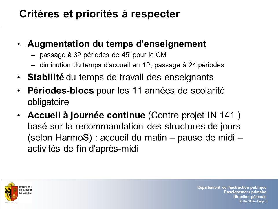 30.04.2014 - Page 3 Département de l'instruction publique Enseignement primaire Direction générale Critères et priorités à respecter Augmentation du t