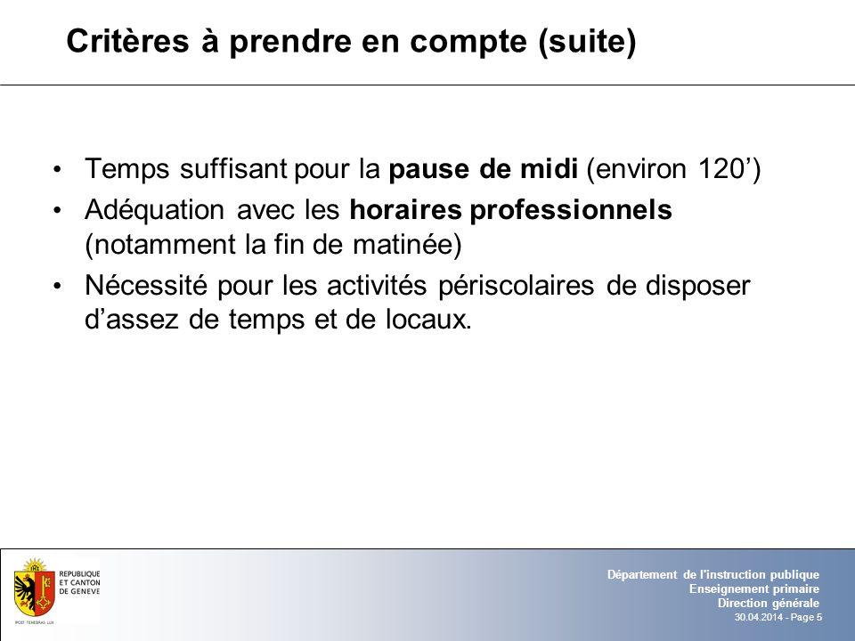 30.04.2014 - Page 5 Département de l'instruction publique Enseignement primaire Direction générale Critères à prendre en compte (suite) Temps suffisan