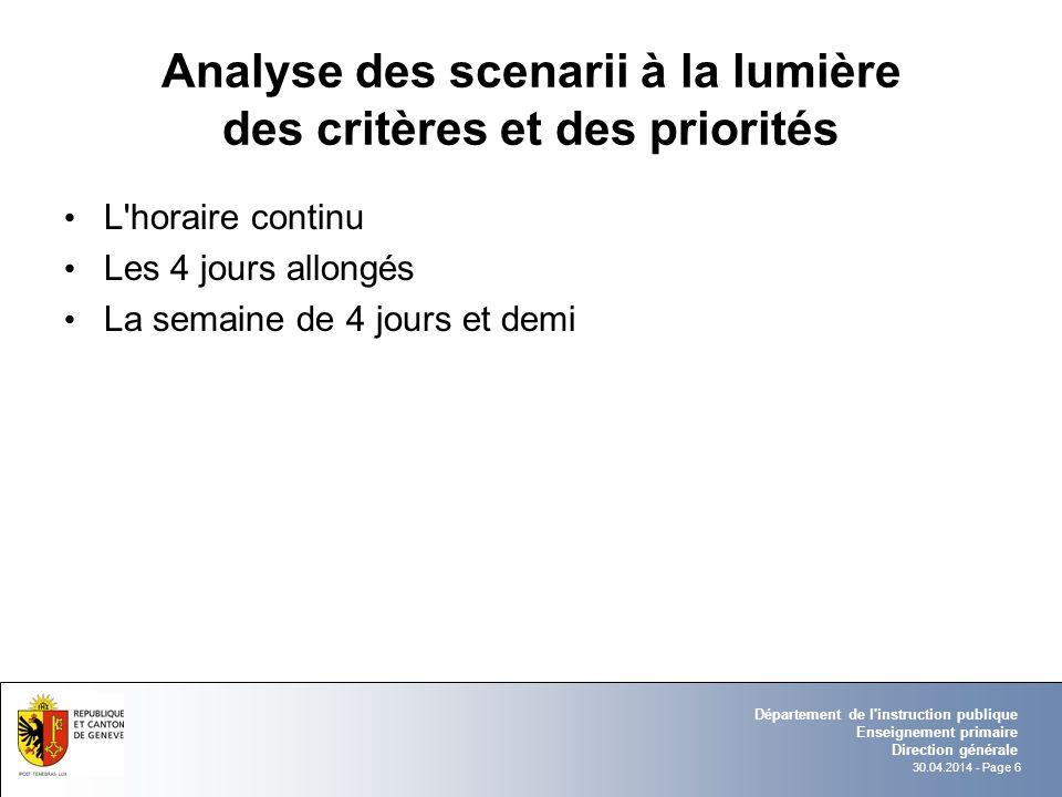 30.04.2014 - Page 6 Département de l'instruction publique Enseignement primaire Direction générale Analyse des scenarii à la lumière des critères et d