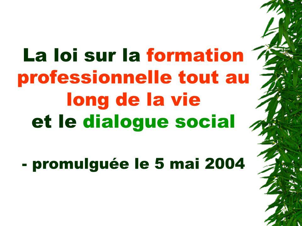 La loi sur la formation professionnelle tout au long de la vie et le dialogue social - promulguée le 5 mai 2004