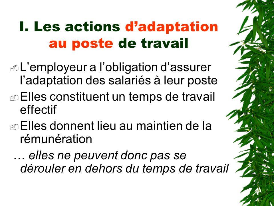 I. Les actions dadaptation au poste de travail Lemployeur a lobligation dassurer ladaptation des salariés à leur poste Elles constituent un temps de t