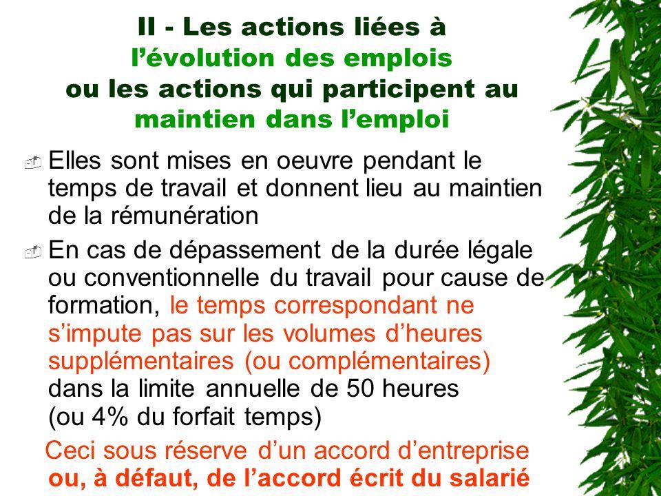 II - Les actions liées à lévolution des emplois ou les actions qui participent au maintien dans lemploi Elles sont mises en oeuvre pendant le temps de
