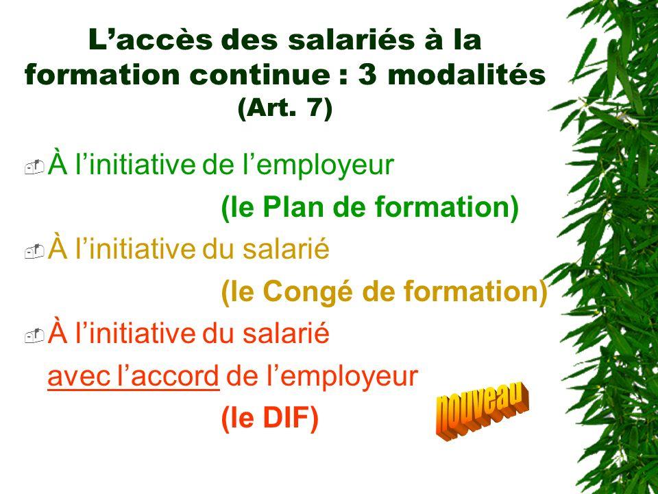 Laccès des salariés à la formation continue : 3 modalités (Art. 7) À linitiative de lemployeur (le Plan de formation) À linitiative du salarié (le Con
