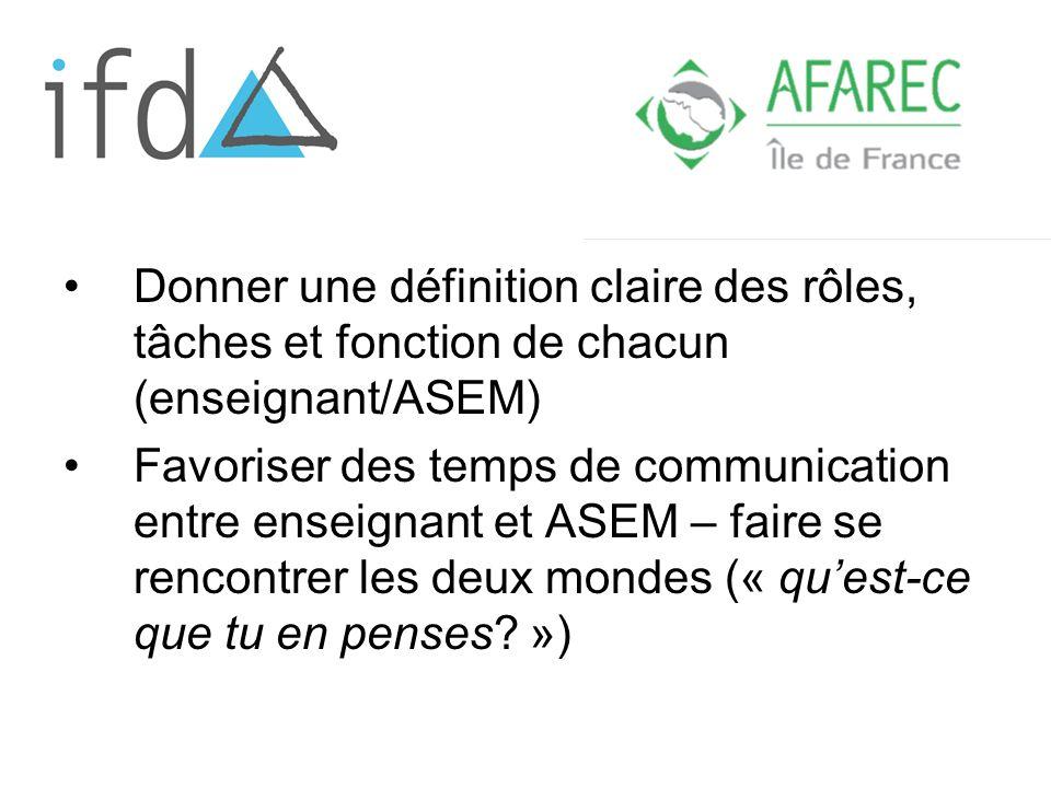 Donner une définition claire des rôles, tâches et fonction de chacun (enseignant/ASEM) Favoriser des temps de communication entre enseignant et ASEM – faire se rencontrer les deux mondes (« quest-ce que tu en penses.
