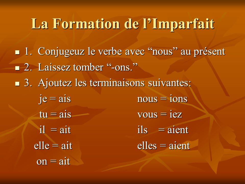 La Formation de lImparfait 1. Conjugeuz le verbe avec nous au présent 1. Conjugeuz le verbe avec nous au présent 2. Laissez tomber -ons. 2. Laissez to