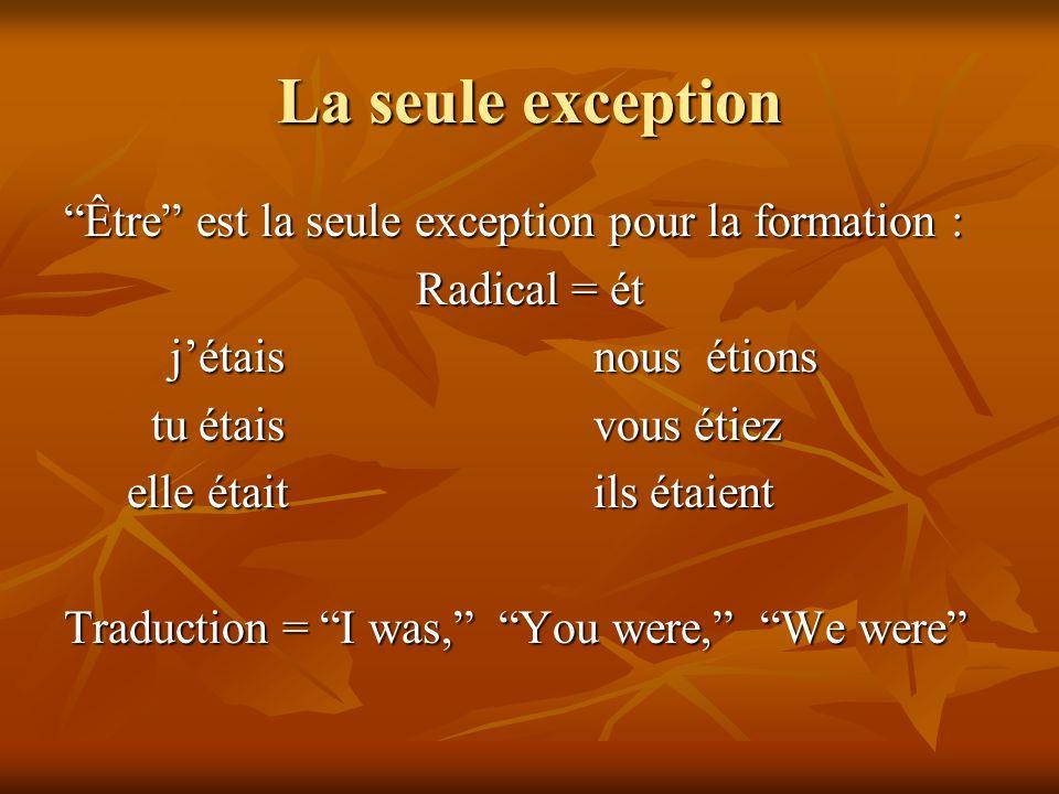 La seule exception Être est la seule exception pour la formation : Radical = ét jétaisnous étions tu étaisvous étiez tu étaisvous étiez elle étaitils
