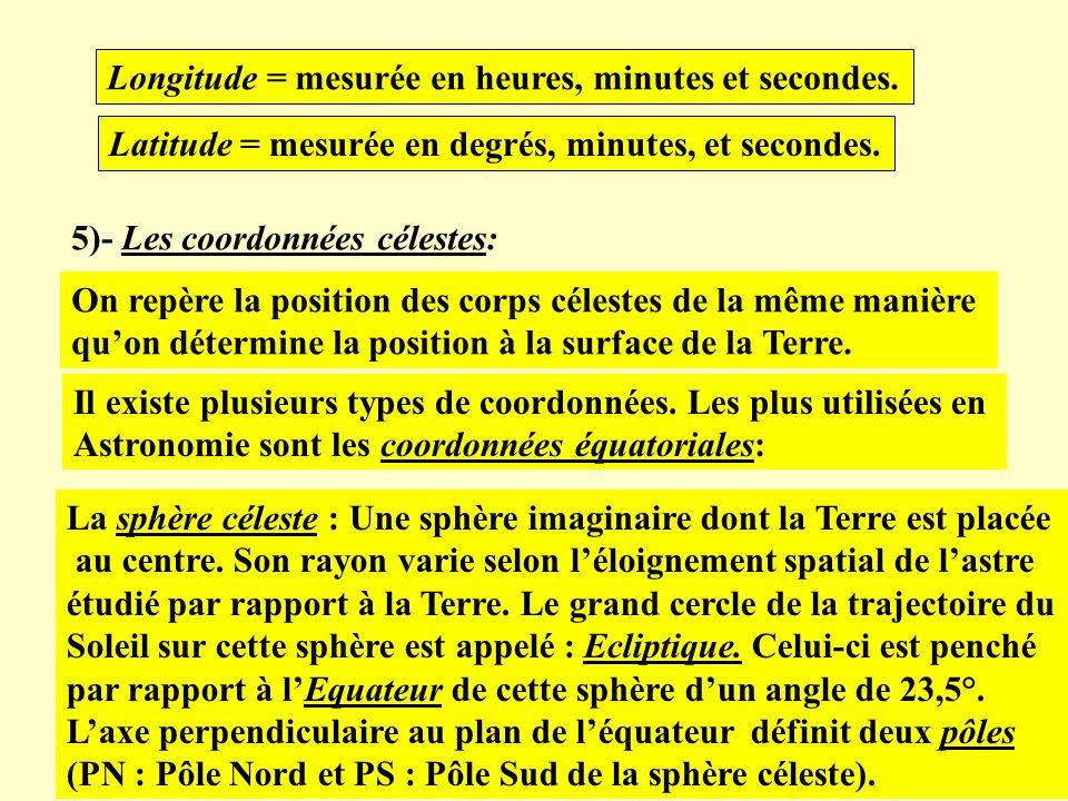 Longitude = mesurée en heures, minutes et secondes. Latitude = mesurée en degrés, minutes, et secondes. 5)- Les coordonnées célestes: On repère la pos