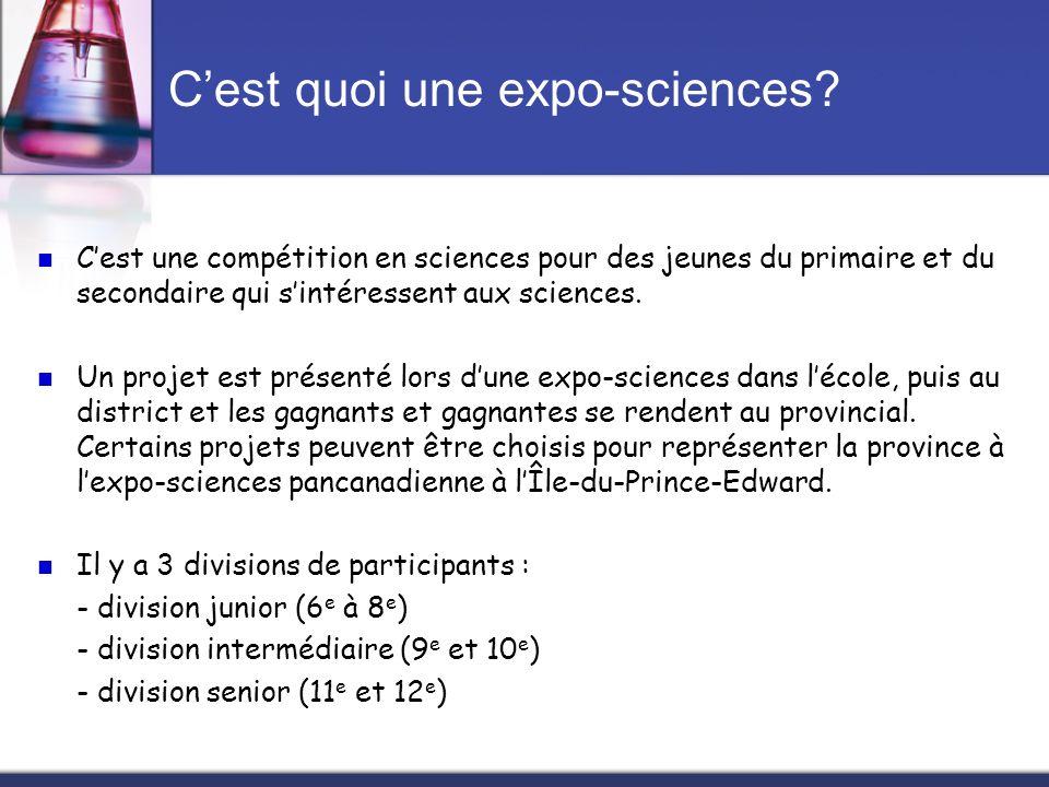 Cest quoi une expo-sciences? Cest une compétition en sciences pour des jeunes du primaire et du secondaire qui sintéressent aux sciences. Un projet es
