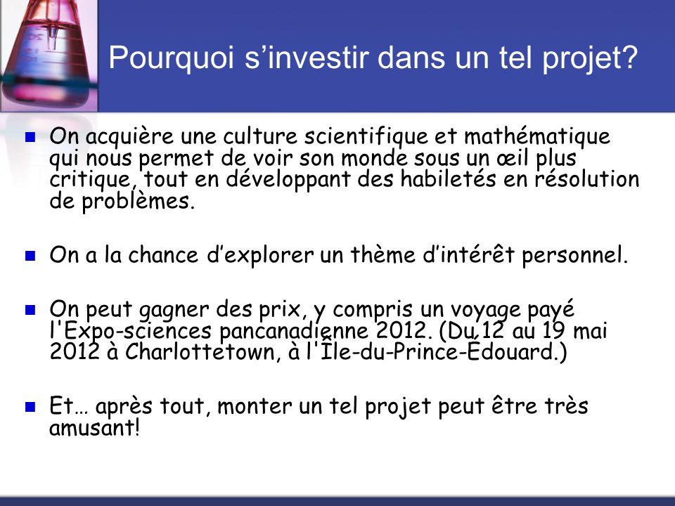 Pourquoi sinvestir dans un tel projet? On acquière une culture scientifique et mathématique qui nous permet de voir son monde sous un œil plus critiqu