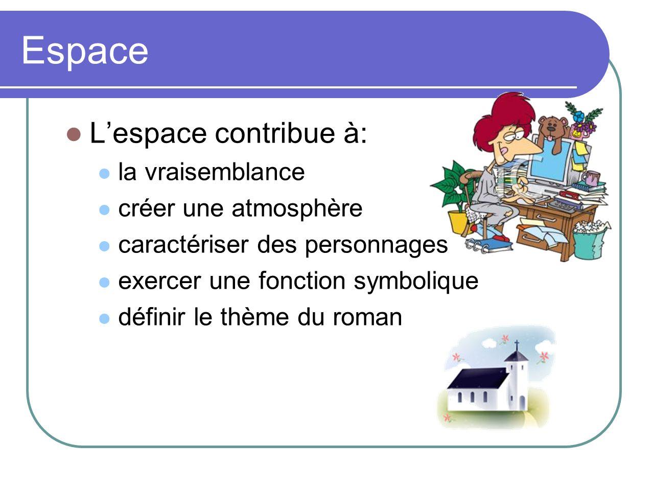 Espace Lespace contribue à: la vraisemblance créer une atmosphère caractériser des personnages exercer une fonction symbolique définir le thème du roman