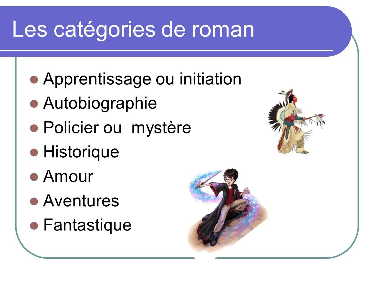 Les catégories de roman Apprentissage ou initiation Autobiographie Policier ou mystère Historique Amour Aventures Fantastique