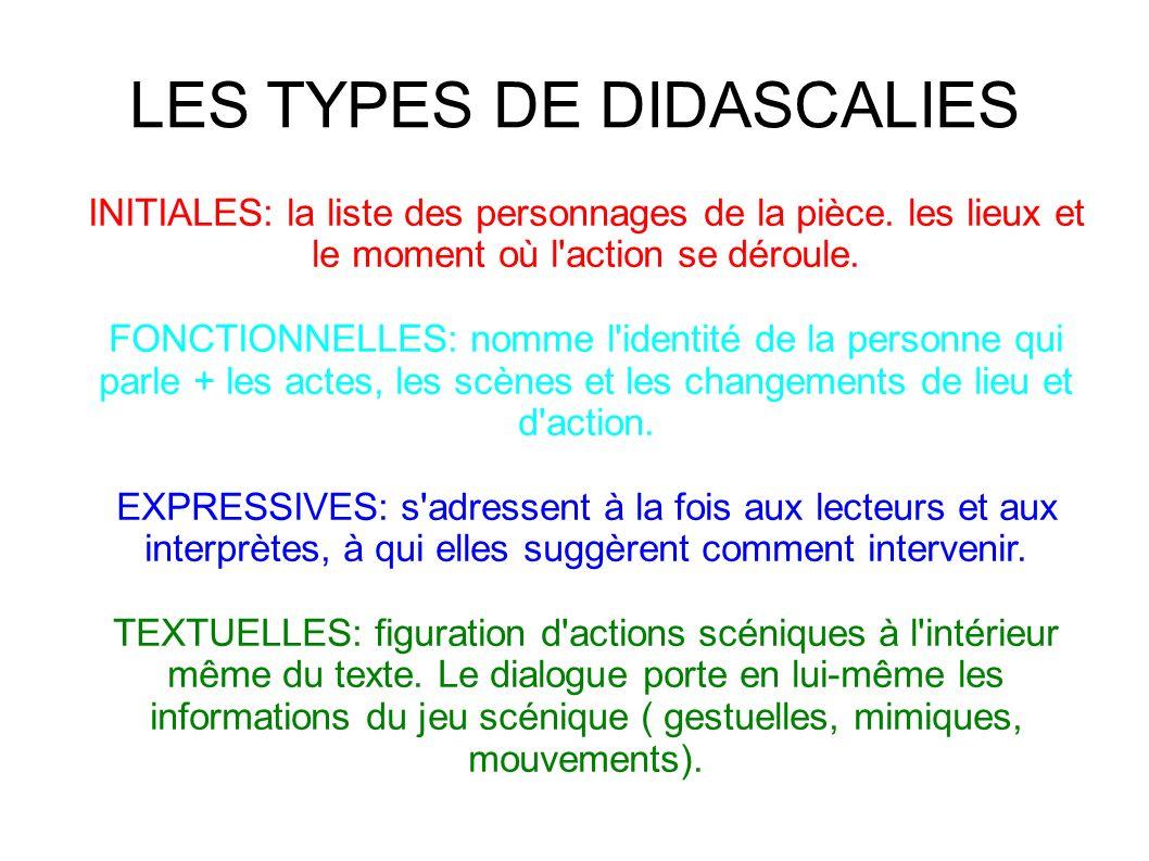 LES TYPES DE DIDASCALIES INITIALES: la liste des personnages de la pièce.