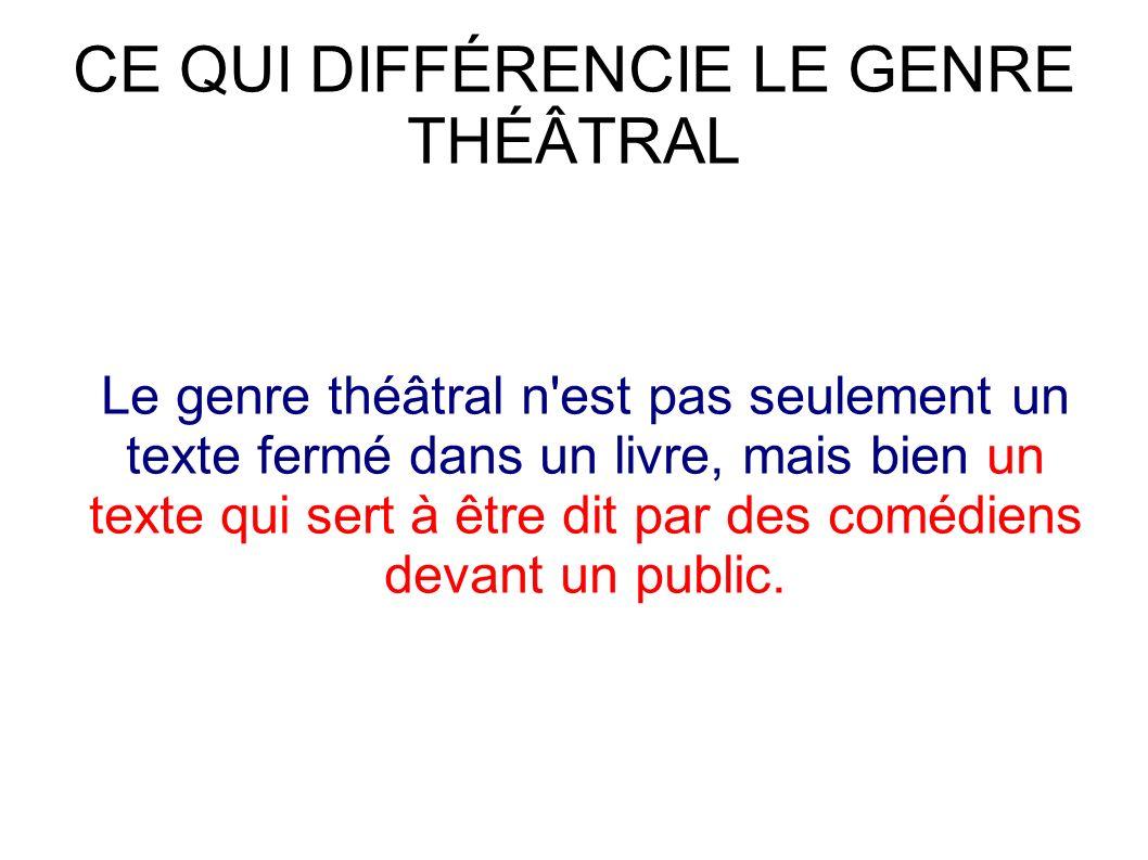 CE QUI DIFFÉRENCIE LE GENRE THÉÂTRAL Le genre théâtral n est pas seulement un texte fermé dans un livre, mais bien un texte qui sert à être dit par des comédiens devant un public.