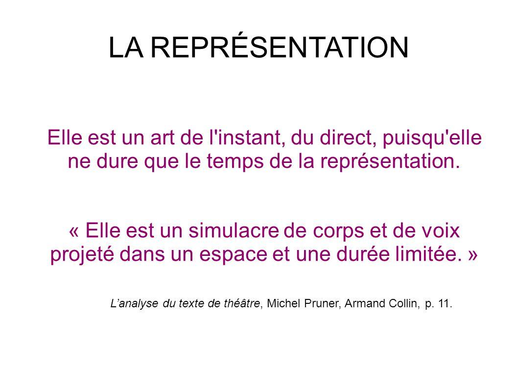 LA REPRÉSENTATION Elle est un art de l instant, du direct, puisqu elle ne dure que le temps de la représentation.