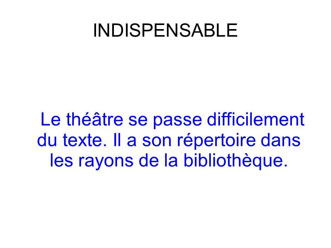 INDISPENSABLE Le théâtre se passe difficilement du texte.
