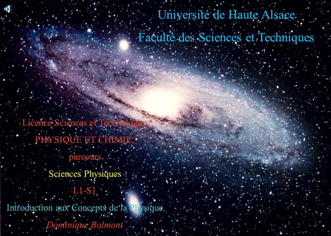 1 Université de Haute Alsace Faculté des Sciences et Techniques Licence Sciences et Technologies PHYSIQUE ET CHIMIE, parcours Sciences Physiques L1-S1