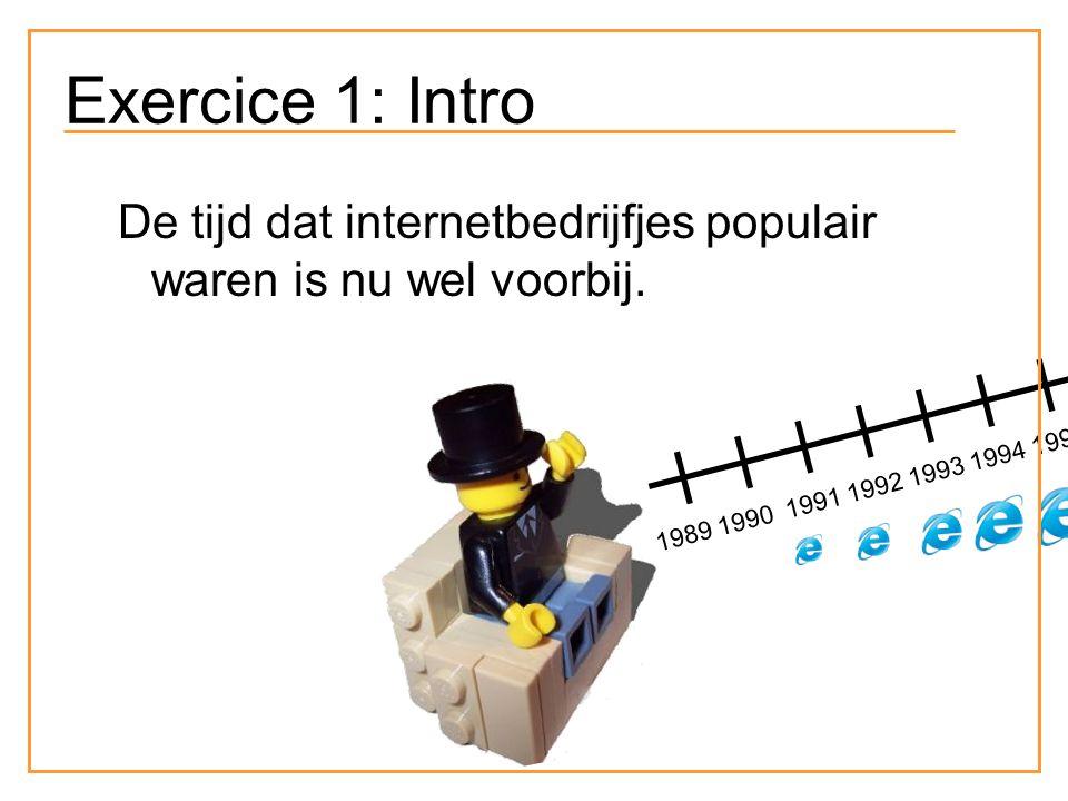 Exercice 1: Intro De tijd dat internetbedrijfjes populair waren is nu wel voorbij. 1989 1990 1991 1992 1993 1994 1995 1996 1997 1998 1999 2000 2001