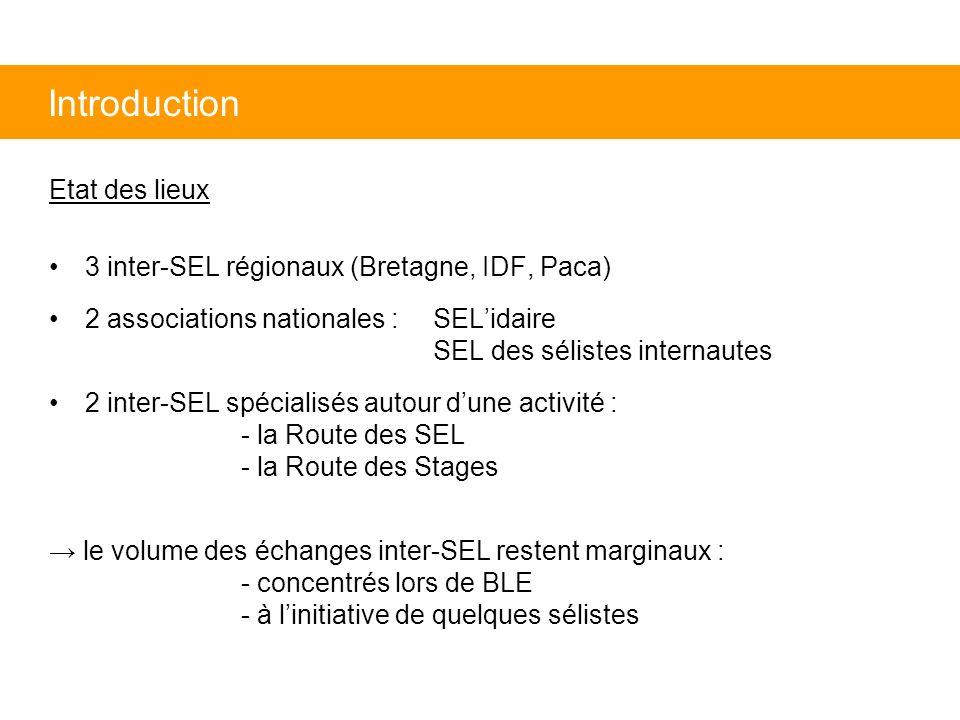 Etat des lieux 3 inter-SEL régionaux (Bretagne, IDF, Paca) 2 associations nationales : SELidaire SEL des sélistes internautes 2 inter-SEL spécialisés autour dune activité : - la Route des SEL - la Route des Stages le volume des échanges inter-SEL restent marginaux : - concentrés lors de BLE - à linitiative de quelques sélistes