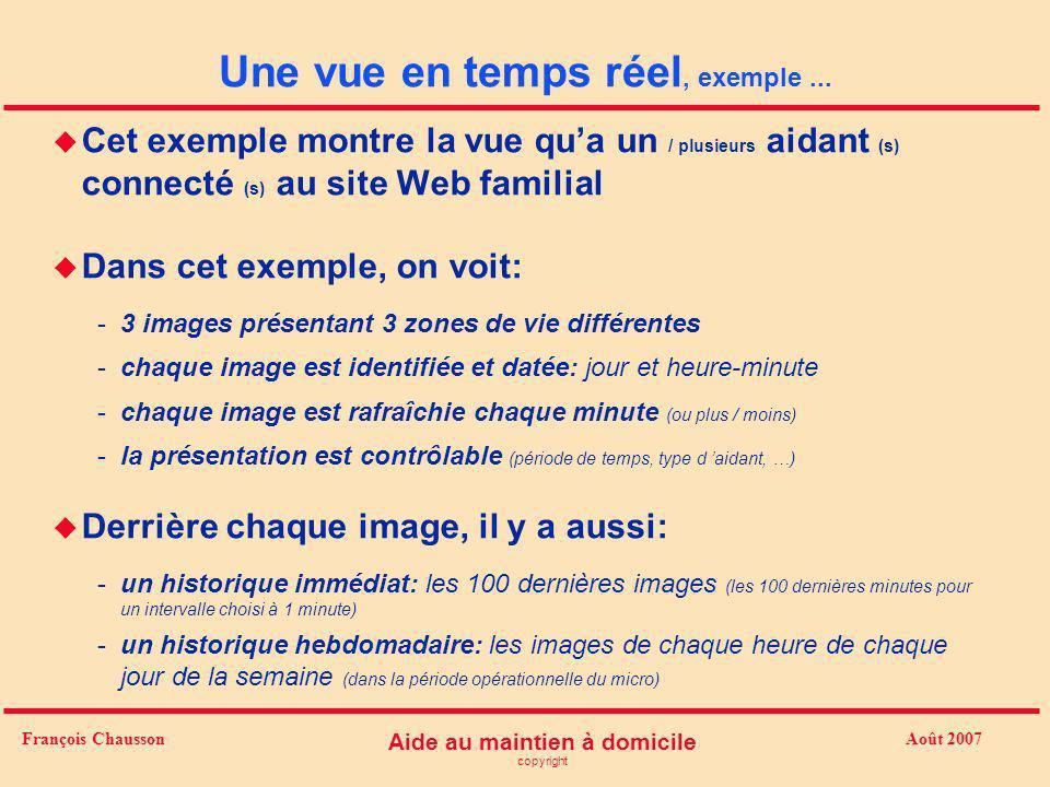 Août 2007 Aide au maintien à domicile copyright François Chausson Une vue en temps réel, exemple... u Cet exemple montre la vue qua un / plusieurs aid