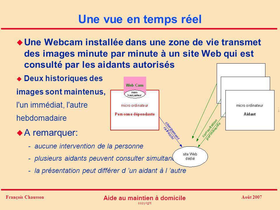 Août 2007 Aide au maintien à domicile copyright François Chausson Une vue en temps réel u Une Webcam installée dans une zone de vie transmet des image