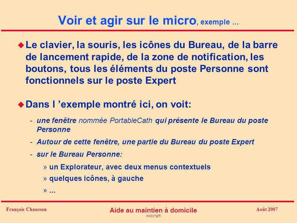 Août 2007 Aide au maintien à domicile copyright François Chausson Voir et agir sur le micro, exemple... u Le clavier, la souris, les icônes du Bureau,