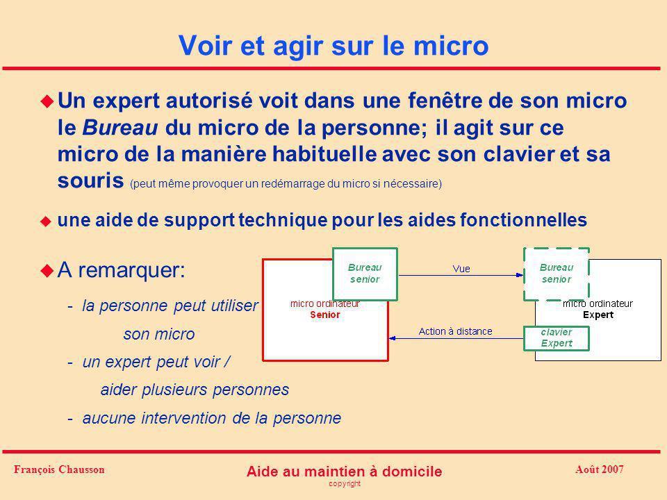 Août 2007 Aide au maintien à domicile copyright François Chausson Voir et agir sur le micro u Un expert autorisé voit dans une fenêtre de son micro le
