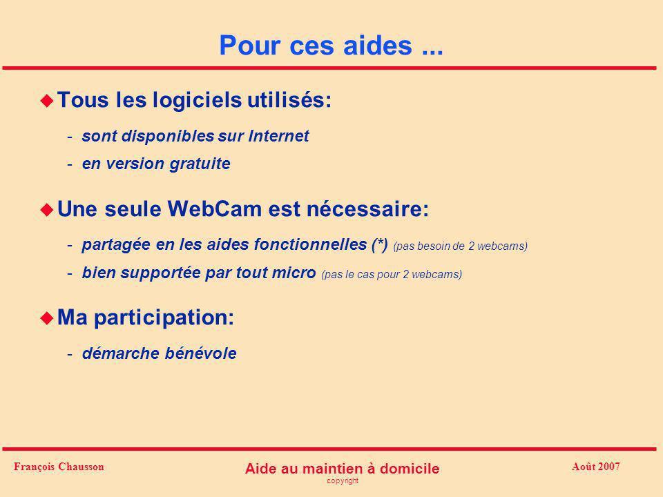 Août 2007 Aide au maintien à domicile copyright François Chausson Pour ces aides... u Tous les logiciels utilisés: -sont disponibles sur Internet -en