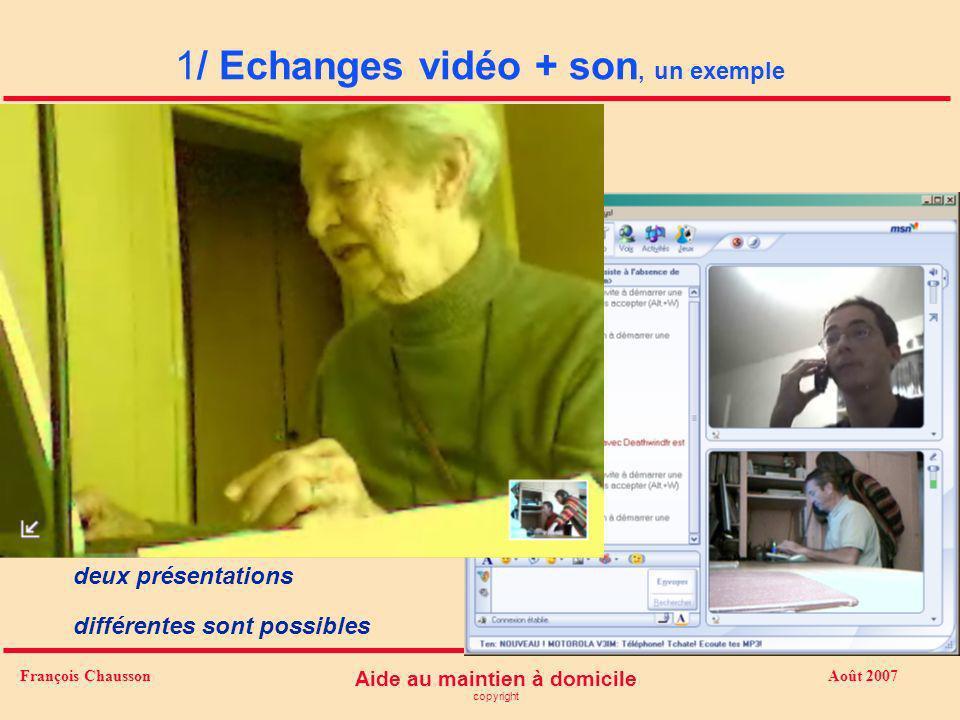 Août 2007 Aide au maintien à domicile copyright François Chausson 1/ Echanges vidéo + son, un exemple deux présentations différentes sont possibles