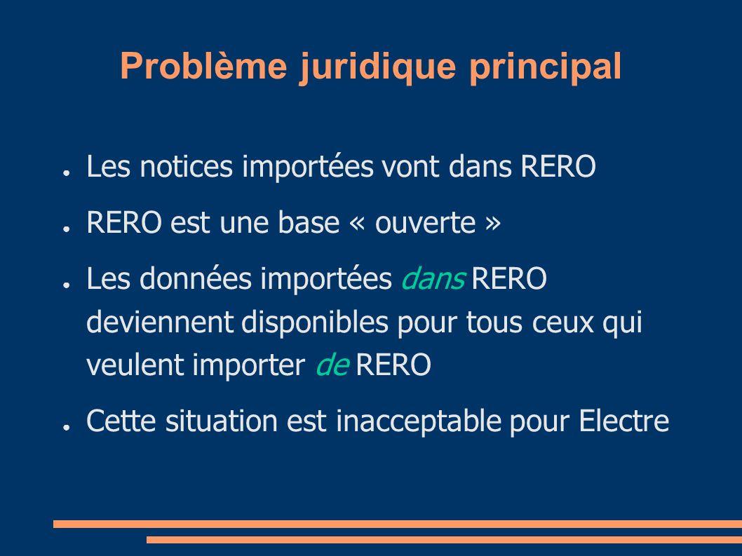 Problème juridique principal Les notices importées vont dans RERO RERO est une base « ouverte » Les données importées dans RERO deviennent disponibles pour tous ceux qui veulent importer de RERO Cette situation est inacceptable pour Electre