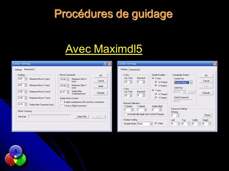 Procédures de guidage Avec Maximdl5