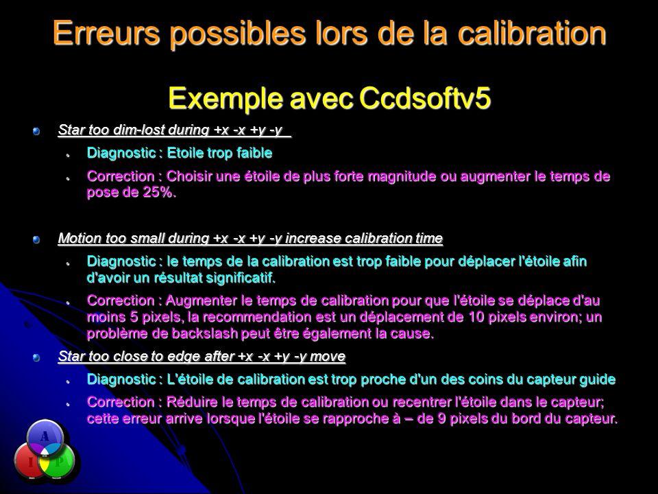 Erreurs possibles lors de la calibration Exemple avec Ccdsoftv5 Star too dim-lost during +x -x +y -y Diagnostic : Etoile trop faible Diagnostic : Etoile trop faible Correction : Choisir une étoile de plus forte magnitude ou augmenter le temps de pose de 25%.