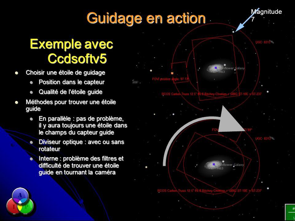 Guidage en action Exemple avec Ccdsoftv5 Choisir une étoile de guidage Choisir une étoile de guidage Position dans le capteur Position dans le capteur
