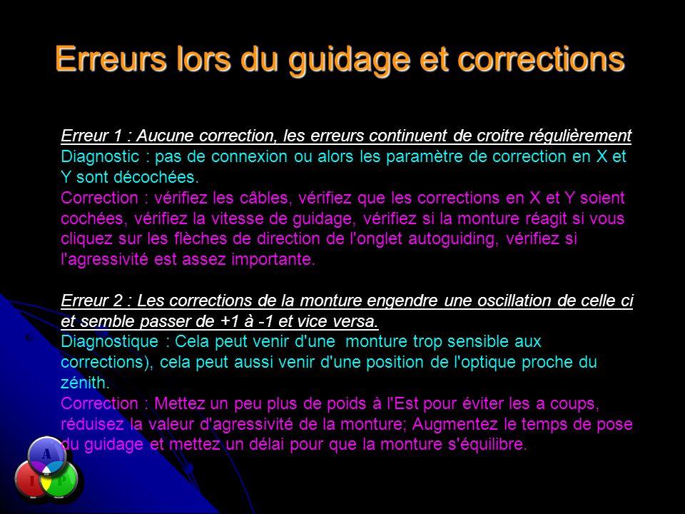 Erreurs lors du guidage et corrections Erreur 1 : Aucune correction, les erreurs continuent de croitre régulièrement Diagnostic : pas de connexion ou alors les paramètre de correction en X et Y sont décochées.