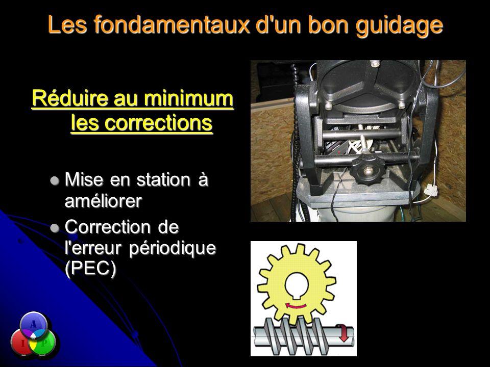 Les fondamentaux d un bon guidage Réduire au minimum les corrections Mise en station à améliorer Mise en station à améliorer Correction de l erreur périodique (PEC) Correction de l erreur périodique (PEC)