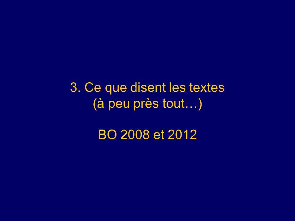 3. Ce que disent les textes (à peu près tout…) BO 2008 et 2012