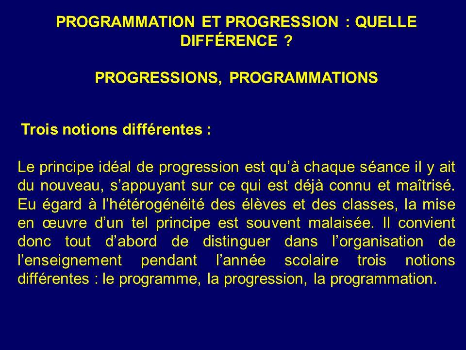 PROGRAMMATION ET PROGRESSION : QUELLE DIFFÉRENCE .