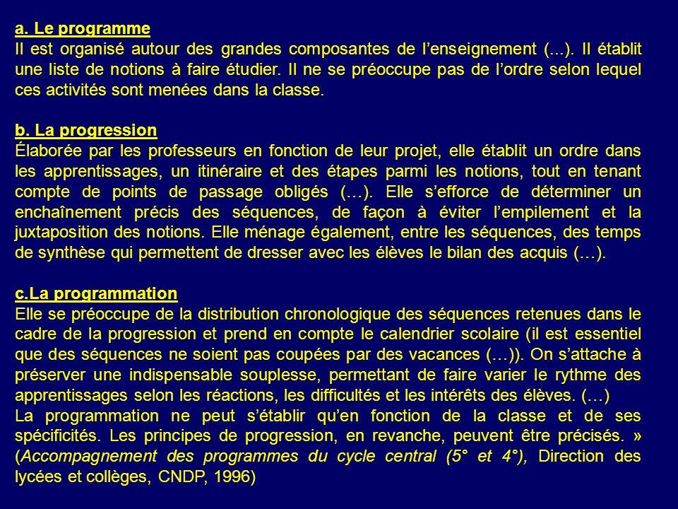 a.Le programme Il est organisé autour des grandes composantes de lenseignement (...).