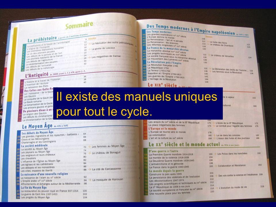 Il existe des manuels uniques pour tout le cycle.