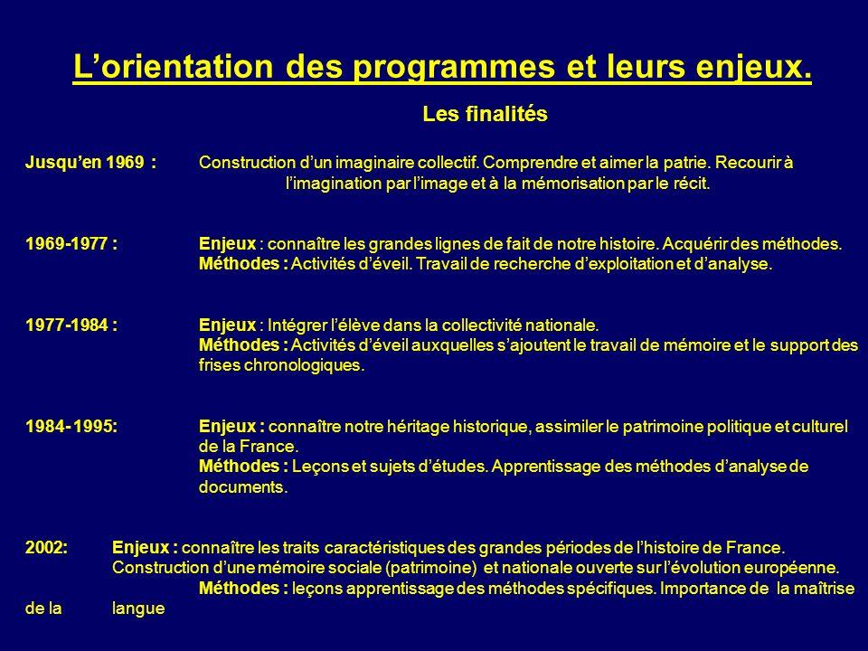 Lorientation des programmes et leurs enjeux. Les finalités Jusquen 1969 :Construction dun imaginaire collectif. Comprendre et aimer la patrie. Recouri