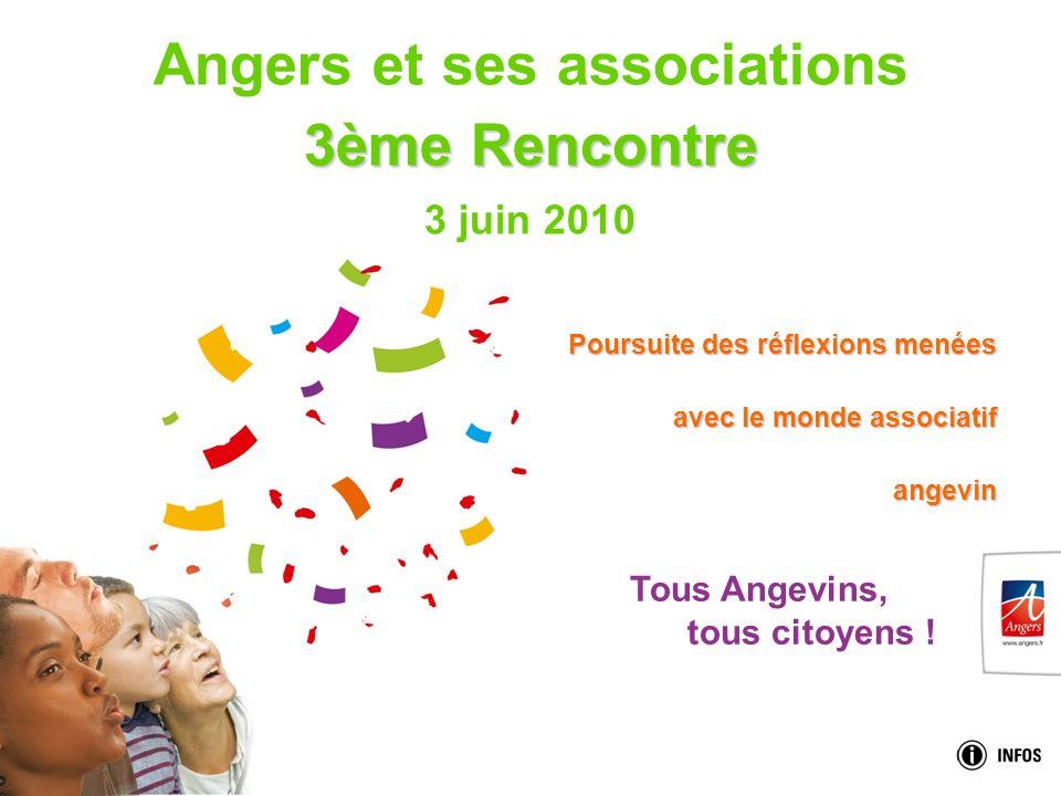 Tous Angevins, tous citoyens ! 3ème Rencontre Angers et ses associations 3ème Rencontre 3 juin 2010 Poursuite des réflexions menées avec le monde asso