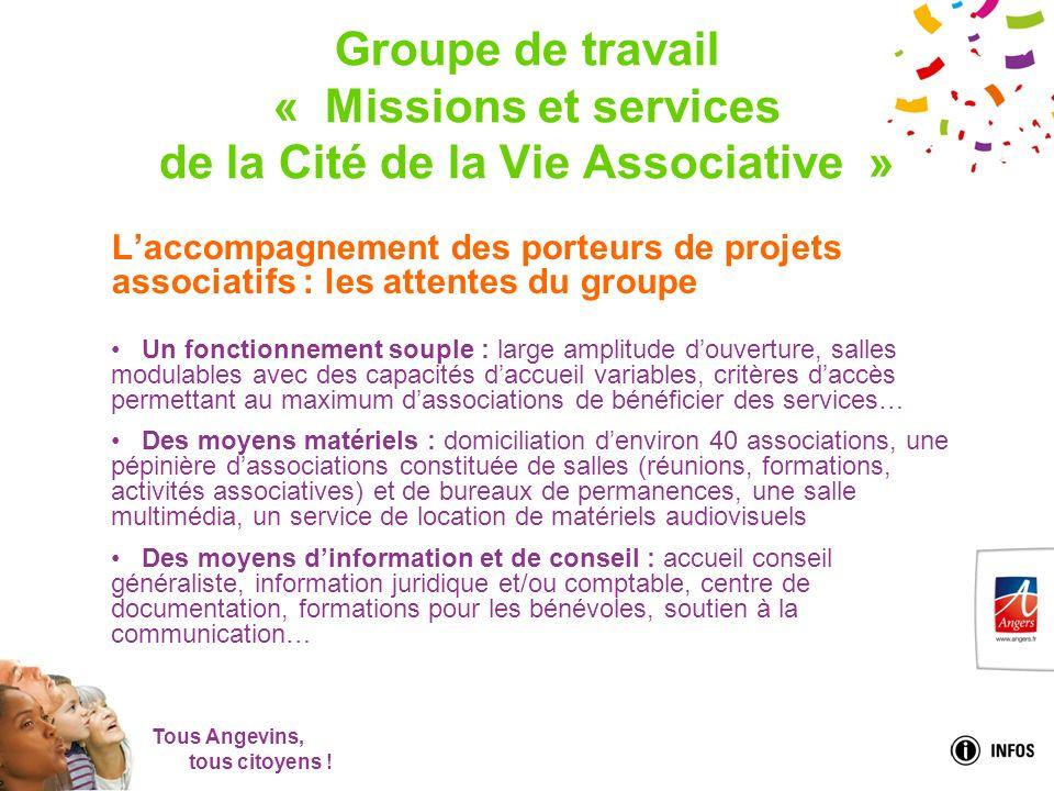 Tous Angevins, tous citoyens ! Groupe de travail « Missions et services de la Cité de la Vie Associative » Laccompagnement des porteurs de projets ass