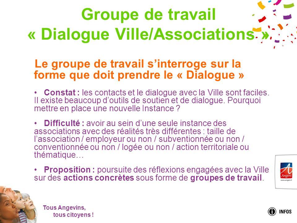 Tous Angevins, tous citoyens ! Groupe de travail « Dialogue Ville/Associations » Le groupe de travail sinterroge sur la forme que doit prendre le « Di