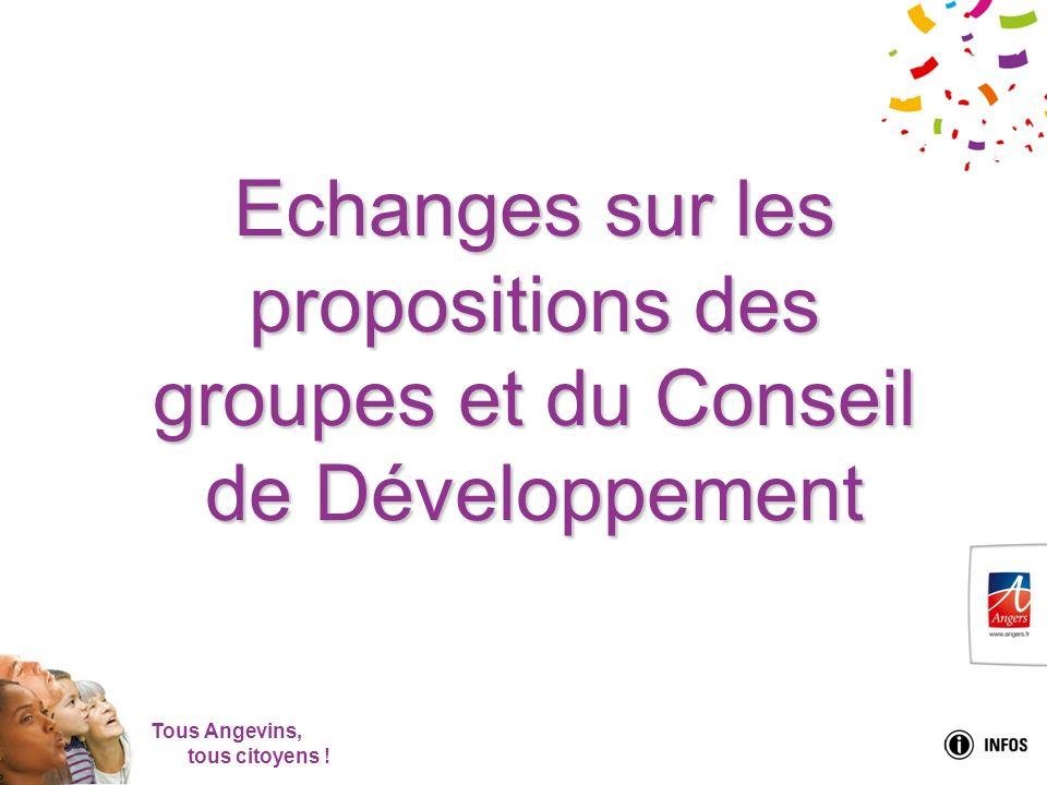 Tous Angevins, tous citoyens ! Echanges sur les propositions des groupes et du Conseil de Développement