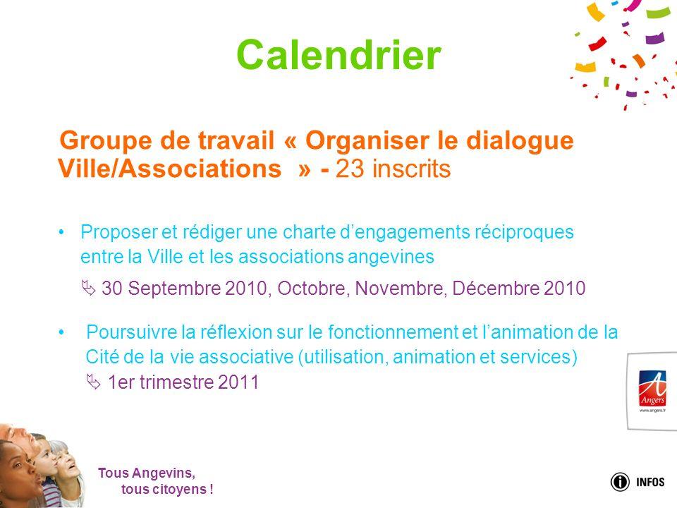 Tous Angevins, tous citoyens ! Calendrier Groupe de travail « Organiser le dialogue Ville/Associations » - 23 inscrits Proposer et rédiger une charte