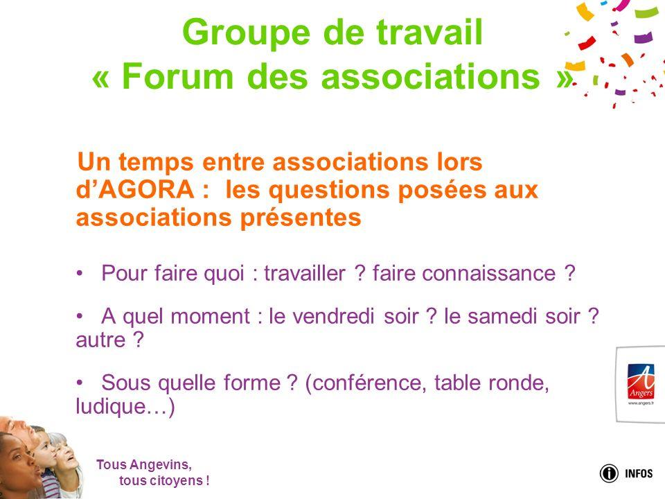 Tous Angevins, tous citoyens ! Groupe de travail « Forum des associations » Un temps entre associations lors dAGORA : les questions posées aux associa