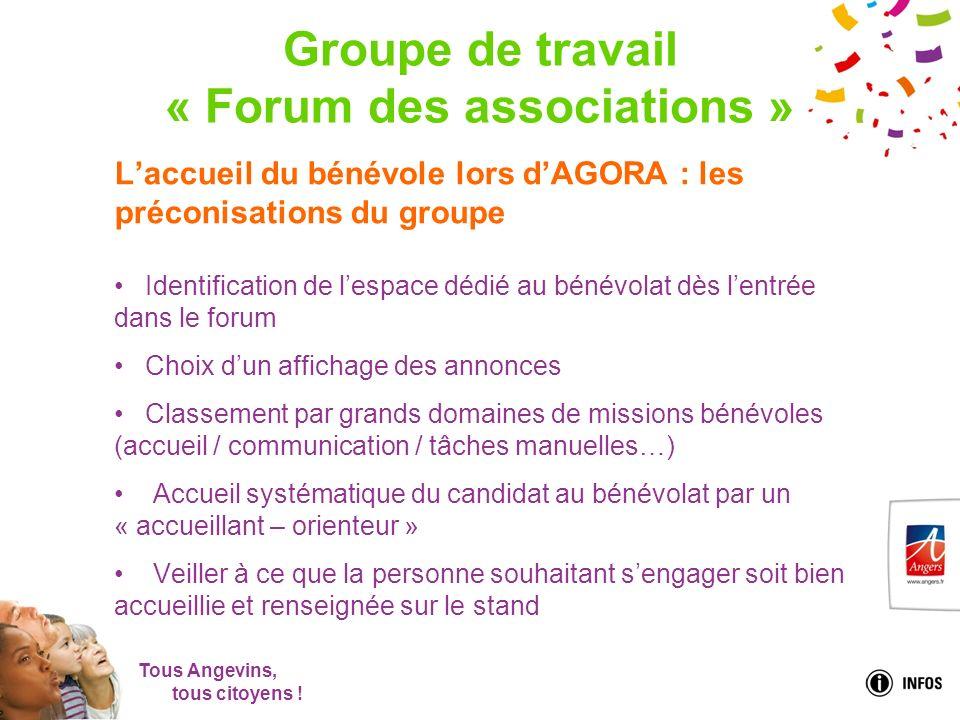 Tous Angevins, tous citoyens ! Groupe de travail « Forum des associations » Laccueil du bénévole lors dAGORA : les préconisations du groupe Identifica