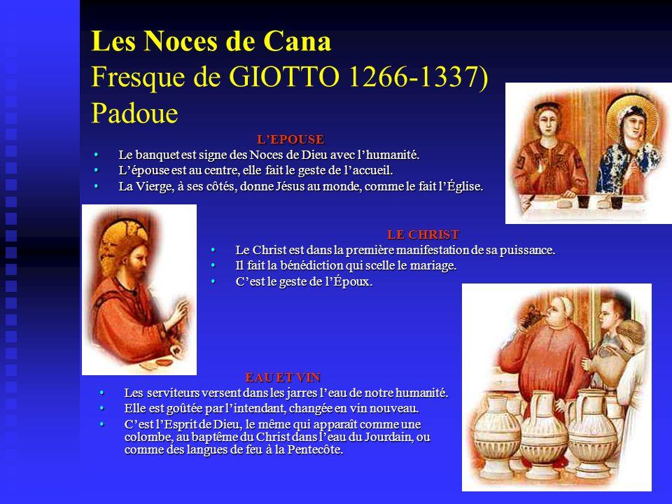 Les Noces de Cana Fresque de GIOTTO 1266-1337) Padoue LEPOUSE Le banquet est signe des Noces de Dieu avec lhumanité. Lépouse est au centre, elle fait