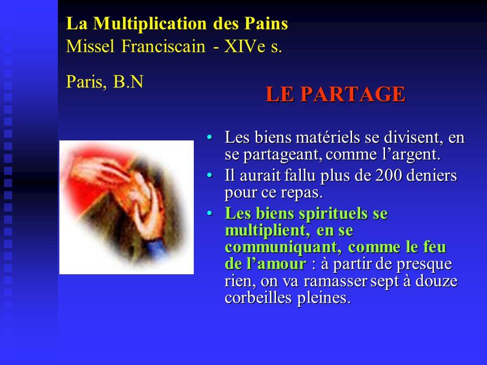 La Multiplication des Pains Missel Franciscain - XIVe s. Paris, B.N LE PARTAGE Les biens matériels se divisent, en se partageant, comme largent. Il au